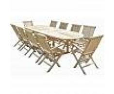 C&L JARDIN Conjunto de jardín de teca HENUA 10 sillones plegables - C&L JARDIN