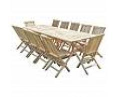 C&L JARDIN Conjunto de jardín de teca BATAN 12 sillas JALANG - C&L JARDIN