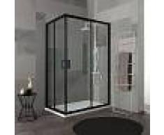 KIAMAMI VALENTINA Cabina De Ducha Con Perfil Negro Mate Y Cristal Transparente 70X100