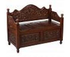 BISCOTTINI Baúl de madera maciza de caoba con efecto nogal 100x40x80 cm
