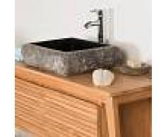 WANDA COLLECTION lavabo sobre encimera rectángulo de piedra mármol NÁPOLES negro - WANDA