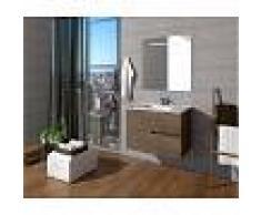 PLUSBAÑO Conjunto de baño Mueble 60x56x46 - Lavabo - Espejo 60 x 80 Roble Gris
