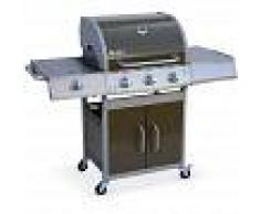 ALICE'S GARDEN Barbacoa de gas, cocina de exterior, Inox, 3 quemadores + 1 fuego