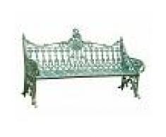 BISCOTTINI Banco de estilo Art Nouveau de hierro moldeado acabado con efecto verde