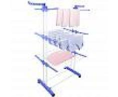 TODECO Tendedero de 3 Niveles, Secadora Interior Plegable, 3 estantes, Azul,