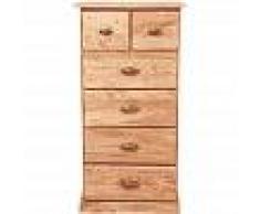 BISCOTTINI Cajonera de estilo Country de madera maciza de tilo acabado con efecto