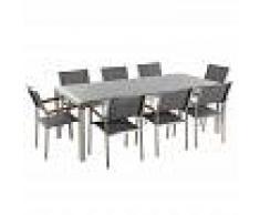 BELIANI Conjunto de jardín mesa con tablero de piedra natural gris pulido 220
