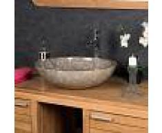 WANDA COLLECTION lavabo sobre encimera redondo BARCELONA de mármol gris 45cm - WANDA