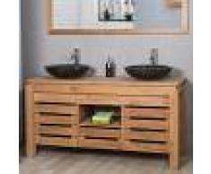 WANDA COLLECTION Mueble para cuarto de baño de teca ZEN doble lavabo 145 cm - WANDA