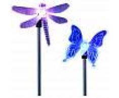 ASUPERMALL 2 piezas, luz de estaca LED para jardin solar, mariposa, libelula