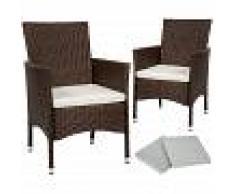 TECTAKE 2 Sillas de ratán + 4 fundas - sillas de comedor imitación mimbre,