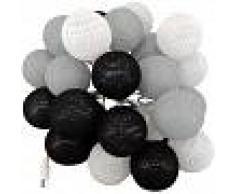 BARCELONA LED Guirnalda LED 24 Bolas de algodón con USB 3m-IP44-7cm gris, blanco,