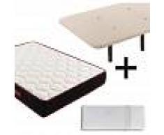 HOGAR24 Base tapizada + Colchón Memory Fresh + Almohada 100 % viscoelástica 32