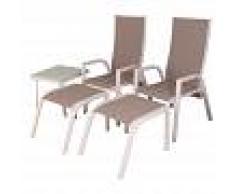EDENJARDIN Conjunto de terraza 2 sillones reclinables + 2 reposapiés + 1 mesita