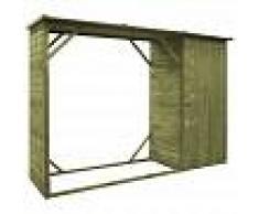 VIDAXL Caseta leña y herramientas jardín madera pino 253x80x170 cm - VIDAXL