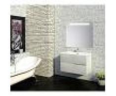 PLUSBAÑO Conjunto de baño Mueble 90x56x46 - Lavabo - Espejo 90 x 80 Roble Claro