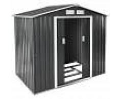 TECTAKE Cobertizo para jardín - caseta de jardín de chapa de acero, casa de