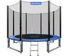 DEUBA Monzana Trampolín de 305 cm cama elástica negro y azul con red de