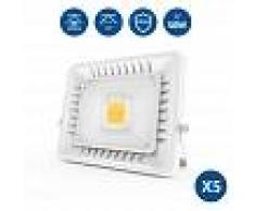 ANTEN 5Pz 50W Foco LED Exterior Ultra-Delgado, 3000K Impermeable Proyector