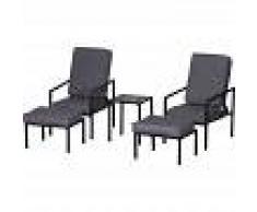Outsunny Conjunto de Muebles de Terraza 2 Sillas 1 mesa y 2 Reposapiés