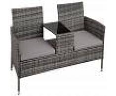 TECTAKE Banco de jardín de poli ratán con mesa - mueble de exterior de poli