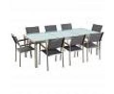 BELIANI Conjunto de jardín mesa en vidrio 220 cm, 8 sillas grises GROSSETO