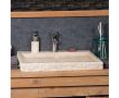 WANDA COLLECTION lavabo sobre encimera grande 70 cm rectángulo de piedra mármol COSY