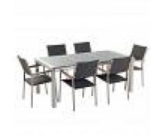 BELIANI Conjunto de jardín mesa con tablero de piedra natural pulida gris 180