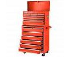 GREENCUT Carro para herramientas PRO armario acero 4 ruedas 16 cajones Rojo