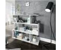 CAESAROO Estantería baja 97 cm blanco brillo con tres estantes Blanco