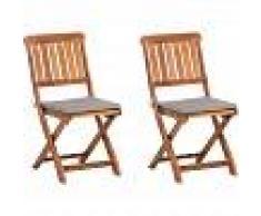BELIANI Conjunto de dos sillas de jardín madera de acacia marrón CENTO - BELIANI