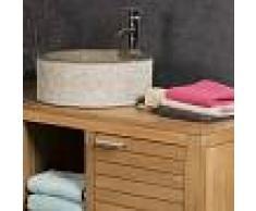 WANDA COLLECTION Lavabo de mármol para cuarto de baño ELBA gris topo 40 cm - WANDA