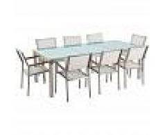 BELIANI Conjunto de jardín mesa en vidrio 220 cm, 8 sillas blancas GROSSETO