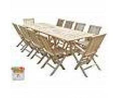 C&L JARDIN Conjunto de jardín de teca BATAN 8 sillas y 2 sillones - Bundle aceite