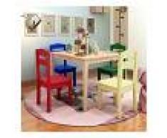 COSTWAY Juego Mueble para Niños Mesa y 4 Sillas de Madera Escritorio para