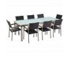 BELIANI Conjunto de jardín mesa en vidrio 220 cm, 8 sillas en ratán GROSSETO