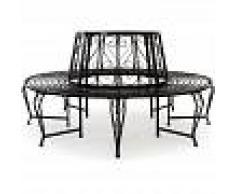 CASARIA Deuba Banco circular de 360° de jardín acero lacado Negro diámetro de