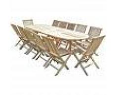 C&L JARDIN Conjunto de jardín de teca HENUA 10 sillas y 2 sillones - C&L JARDIN