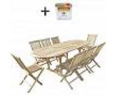 C&L JARDIN Conjunto de jardín de teca MAHUI 8 sillas - Bundle aceite - C&L JARDIN