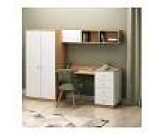 HOMEMANIA Escritorio Almila - con armario integrado, estante, puertas, cajones