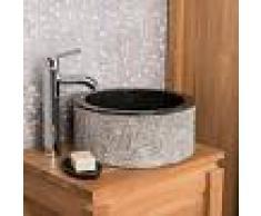 WANDA COLLECTION Lavabo de mármol para cuarto de baño ELBA negro 35 cm - WANDA COLLECTION