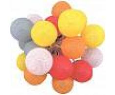 BARCELONA LED Guirnalda LED 24 Bolas de algodón con USB 3m-IP44-7cm rojo,naranja,