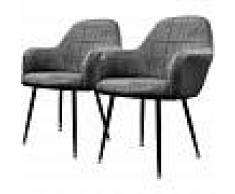 ECD GERMANY 2x sillon bañera de comedor oficina gris oscuro asiento retro tapizado