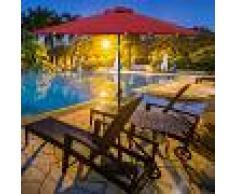 COSTWAY Sombrilla con LED de Energía Solar Parasol de Jardín con 18 Luces 2,7M