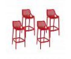 Resol taburete alto Grid - color rojo, set de 4 unidades
