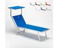 BEACH AND GARDEN DESIGN Tumbona de playa de aluminio con Toldo Parasol SANTORINI Azul Marino