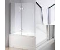 MUCOLA 139x119 CM Bañeras de cristal Mampara de ducha Pared de bañera plegable