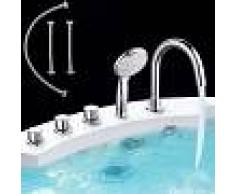 MUCOLA 5 orificios Juego de grifería para ducha de redonda con borde de bañera