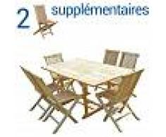 C&L JARDIN Conjunto de jardín de teca SERANG 6+2 sillas - Bundle sillas - C&L