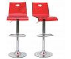 MILIBOO Taburete de bar SATURNO color rojo transparente (lote de 2) - MILIBOO